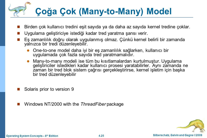 4.25 Silberschatz, Galvin and Gagne ©2009 Operating System Concepts – 8 th Edition Çoğa Çok (Many-to-Many) Model Birden çok kullanıcı tredini eşit say
