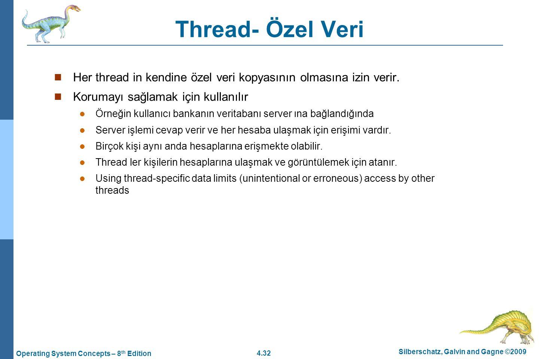 4.32 Silberschatz, Galvin and Gagne ©2009 Operating System Concepts – 8 th Edition Thread- Özel Veri Her thread in kendine özel veri kopyasının olması