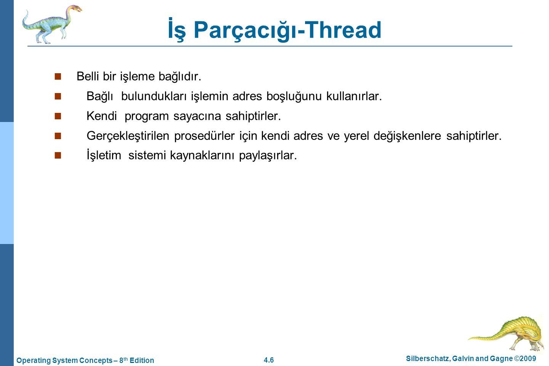 4.6 Silberschatz, Galvin and Gagne ©2009 Operating System Concepts – 8 th Edition İş Parçacığı-Thread Belli bir işleme bağlıdır. Bağlı bulundukları iş