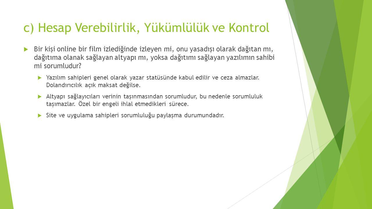 c) Hesap Verebilirlik, Yükümlülük ve Kontrol  Bir kişi online bir film izlediğinde izleyen mi, onu yasadışı olarak dağıtan mı, dağıtıma olanak sağlay