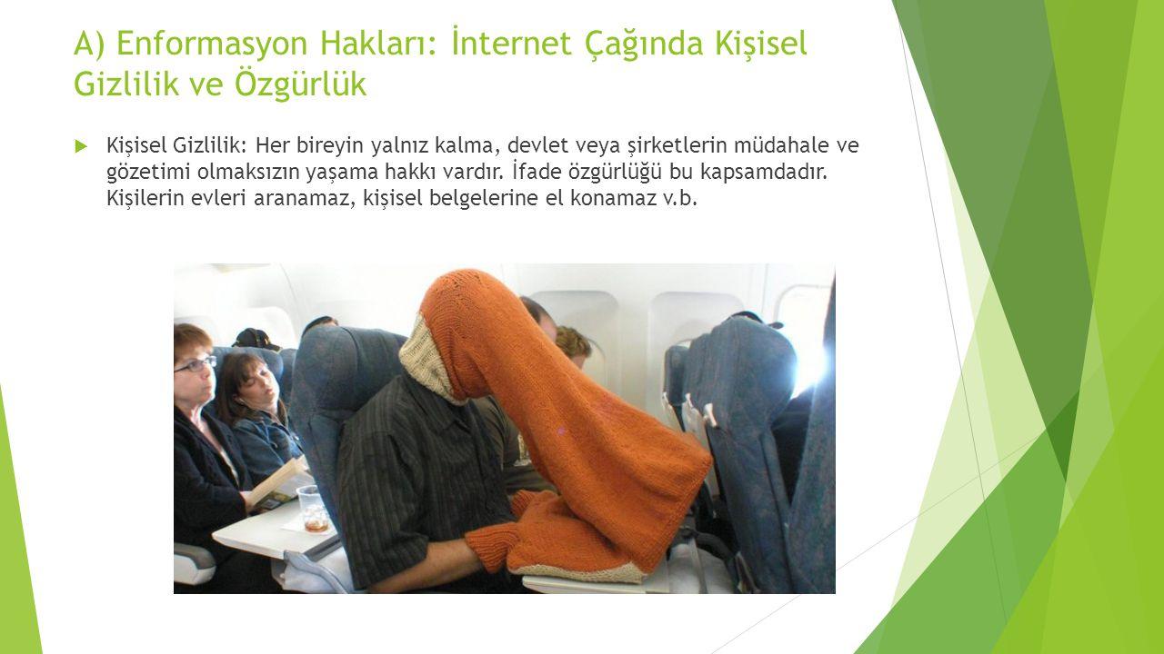 A) Enformasyon Hakları: İnternet Çağında Kişisel Gizlilik ve Özgürlük  Kişisel Gizlilik: Her bireyin yalnız kalma, devlet veya şirketlerin müdahale v