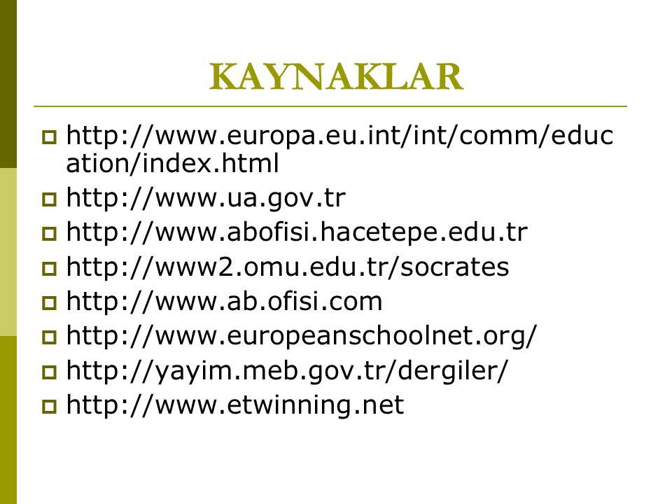 KAYNAKLAR  http://www.europa.eu.int/int/comm/educ ation/index.html  http://www.ua.gov.tr  http://www.abofisi.hacetepe.edu.tr  http://www2.omu.edu.tr/socrates  http://www.ab.ofisi.com  http://www.europeanschoolnet.org/  http://yayim.meb.gov.tr/dergiler/  http://www.etwinning.net