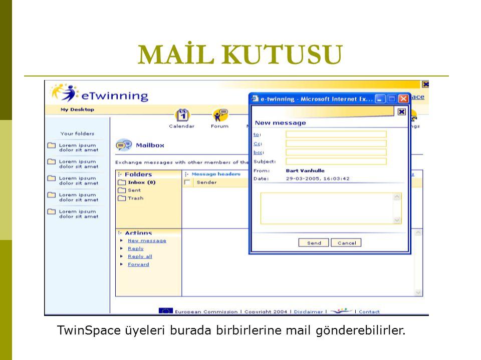 MAİL KUTUSU TwinSpace üyeleri burada birbirlerine mail gönderebilirler.