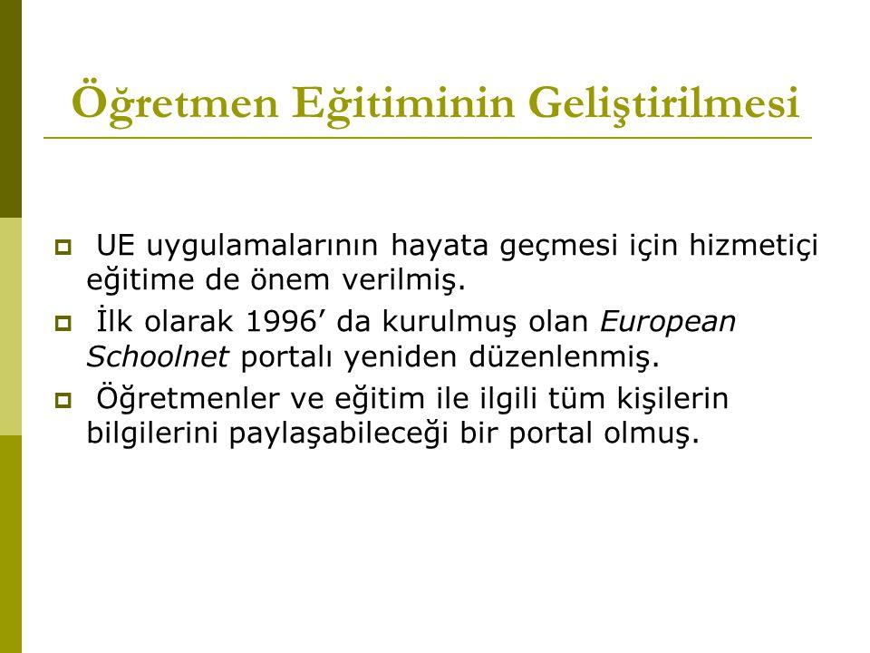 Öğretmen Eğitiminin Geliştirilmesi  UE uygulamalarının hayata geçmesi için hizmetiçi eğitime de önem verilmiş.