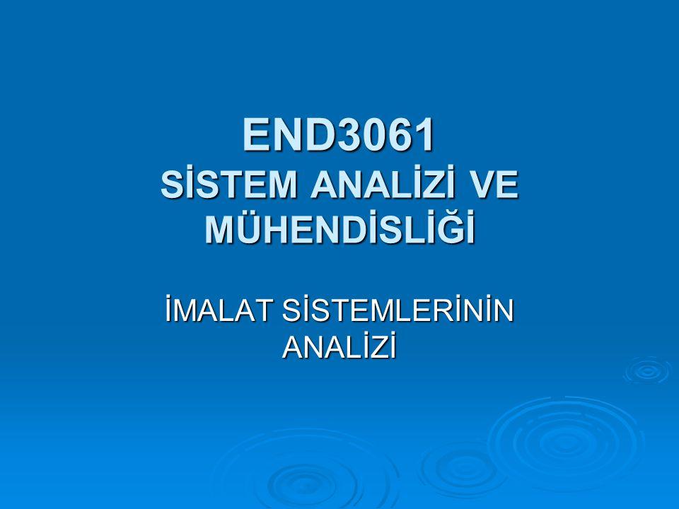 END3061 SİSTEM ANALİZİ VE MÜHENDİSLİĞİ İMALAT SİSTEMLERİNİN ANALİZİ