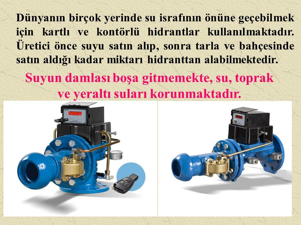 Dünyanın birçok yerinde su israfının önüne geçebilmek için kartlı ve kontörlü hidrantlar kullanılmaktadır. Üretici önce suyu satın alıp, sonra tarla v