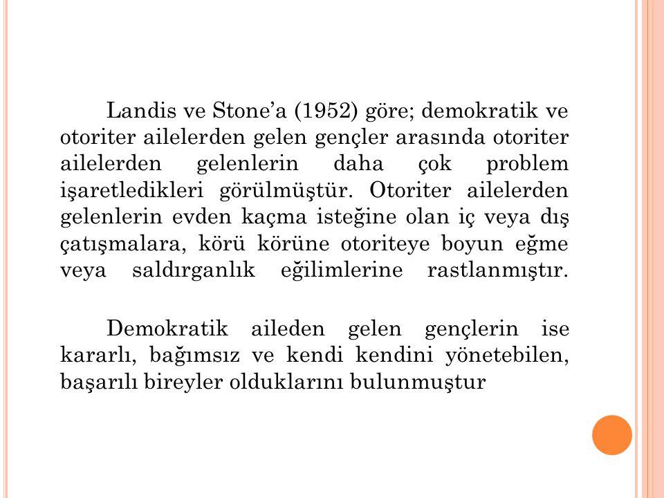 Landis ve Stone'a (1952) göre; demokratik ve otoriter ailelerden gelen gençler arasında otoriter ailelerden gelenlerin daha çok problem işaretledikler