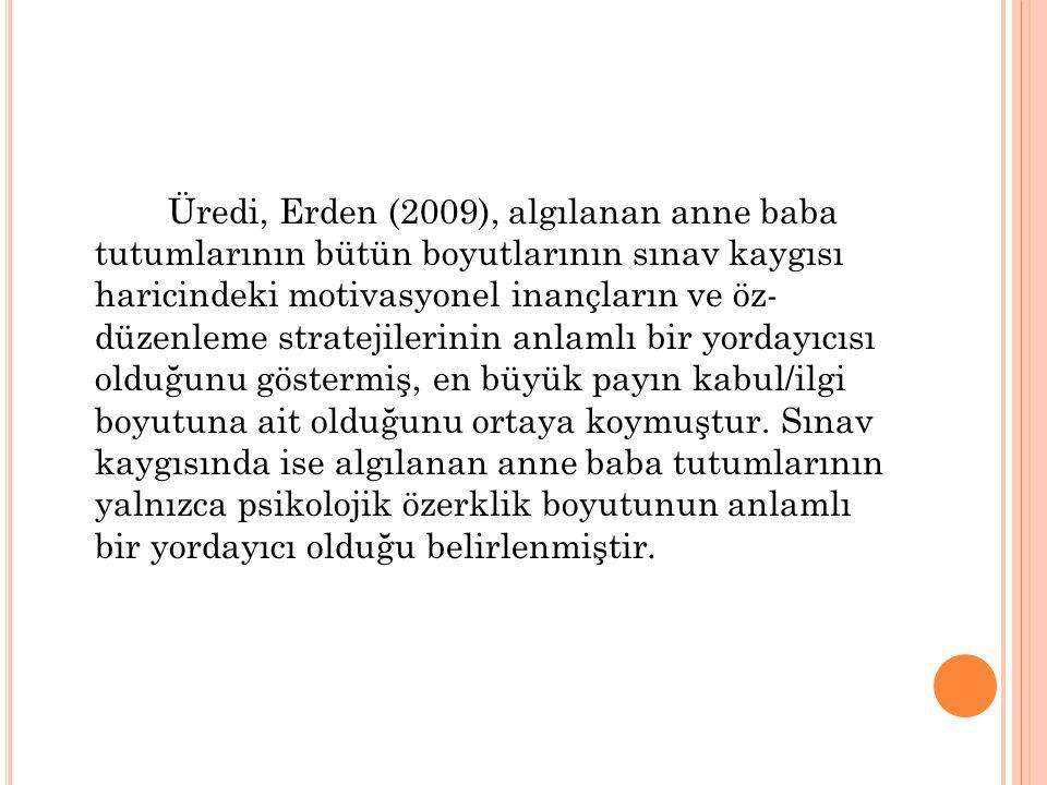 Üredi, Erden (2009), algılanan anne baba tutumlarının bütün boyutlarının sınav kaygısı haricindeki motivasyonel inançların ve öz- düzenleme stratejile