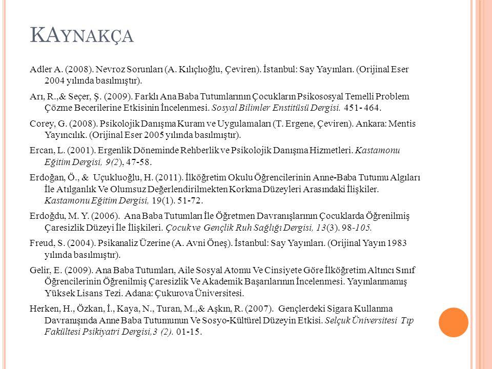 KA YNAKÇA Adler A. (2008). Nevroz Sorunları (A. Kılıçlıoğlu, Çeviren). İstanbul: Say Yayınları. (Orijinal Eser 2004 yılında basılmıştır). Arı, R.,& Se