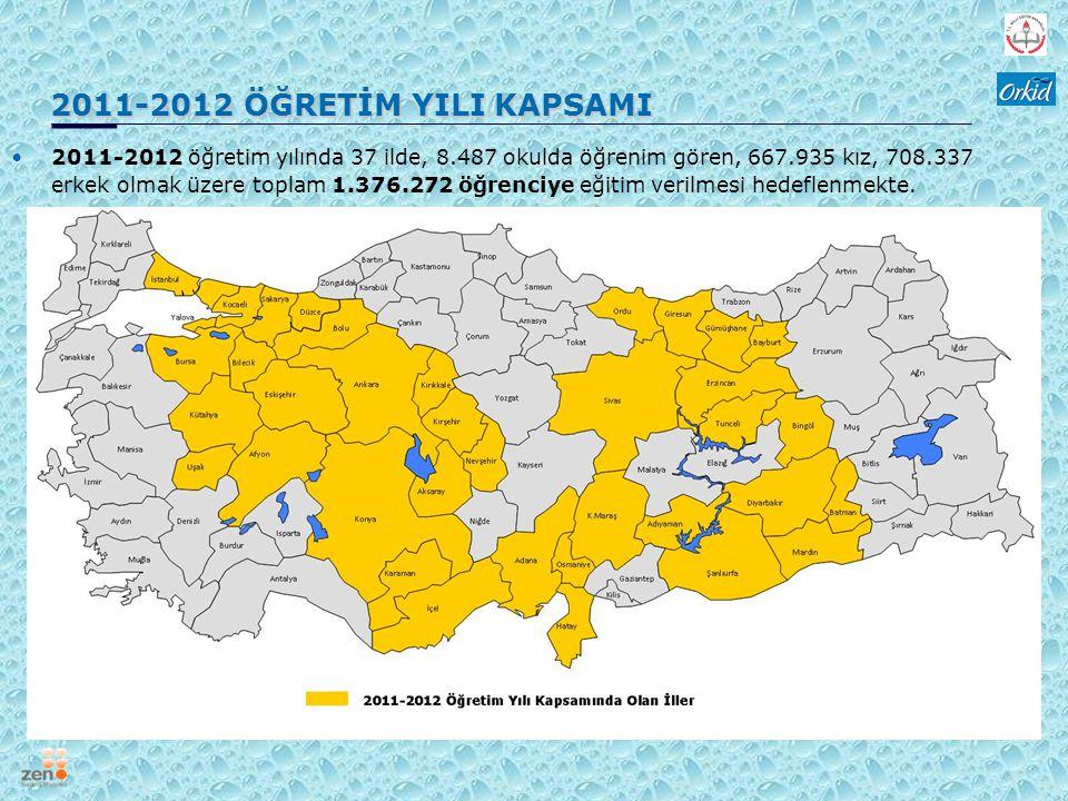 2011-2012 ÖĞRETİM YILI KAPSAMI 2011-2012 ÖĞRETİM YILI KAPSAMI 2011-2012 öğretim yılında 37 ilde, 8.487 okulda öğrenim gören, 667.935 kız, 708.337 erke