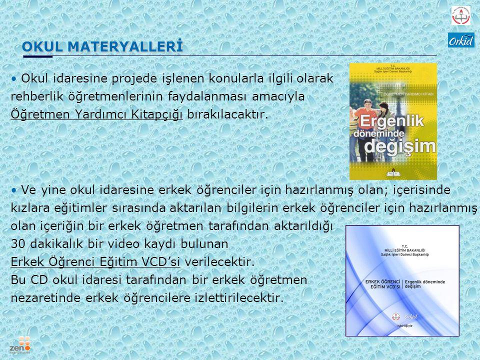 OKUL MATERYALLERİ Okul idaresine projede işlenen konularla ilgili olarak rehberlik öğretmenlerinin faydalanması amacıyla Öğretmen Yardımcı Kitapçığı b