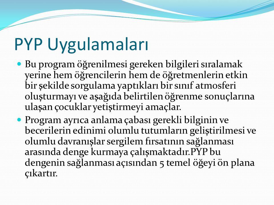 PYP Uygulamaları Bu program öğrenilmesi gereken bilgileri sıralamak yerine hem öğrencilerin hem de öğretmenlerin etkin bir şekilde sorgulama yaptıklar