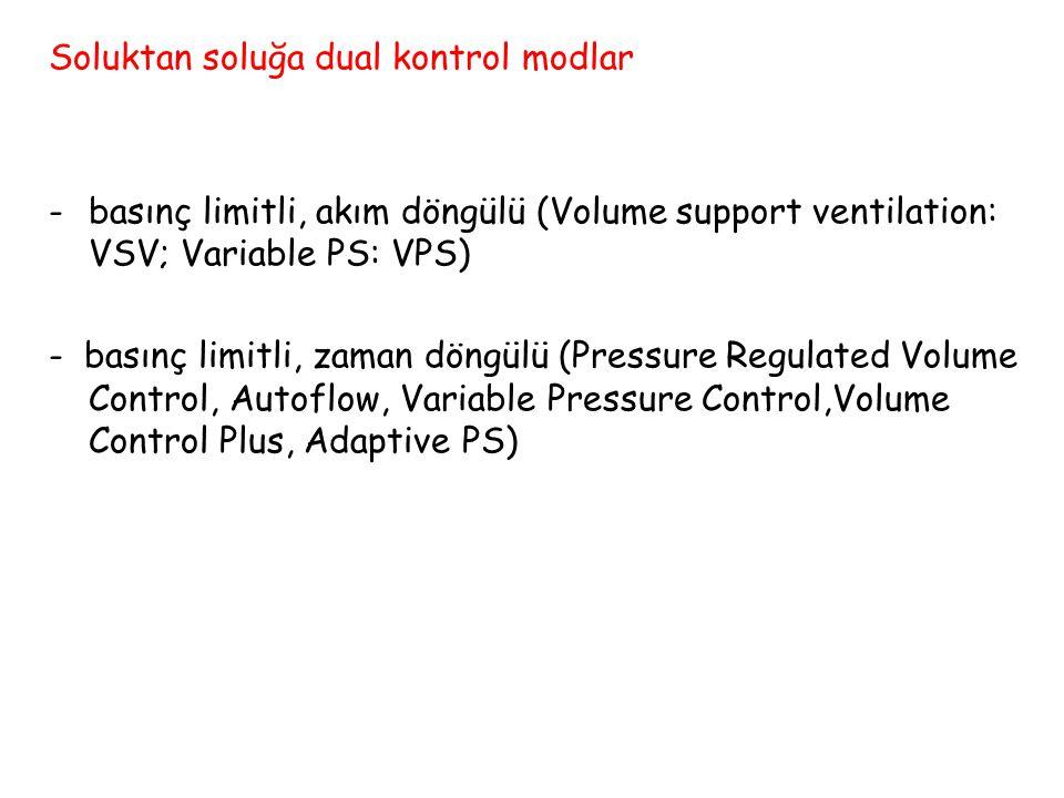 Soluktan soluğa dual kontrol modlar -basınç limitli, akım döngülü (Volume support ventilation: VSV; Variable PS: VPS) - basınç limitli, zaman döngülü (Pressure Regulated Volume Control, Autoflow, Variable Pressure Control,Volume Control Plus, Adaptive PS)