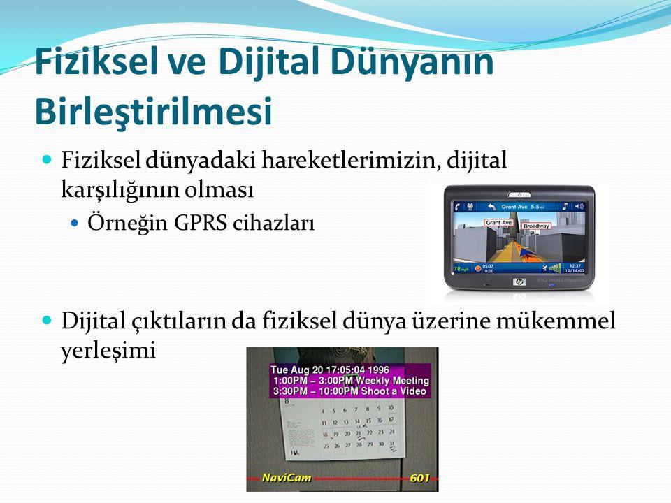 Fiziksel ve Dijital Dünyanın Birleştirilmesi Fiziksel dünyadaki hareketlerimizin, dijital karşılığının olması Örneğin GPRS cihazları Dijital çıktıların da fiziksel dünya üzerine mükemmel yerleşimi