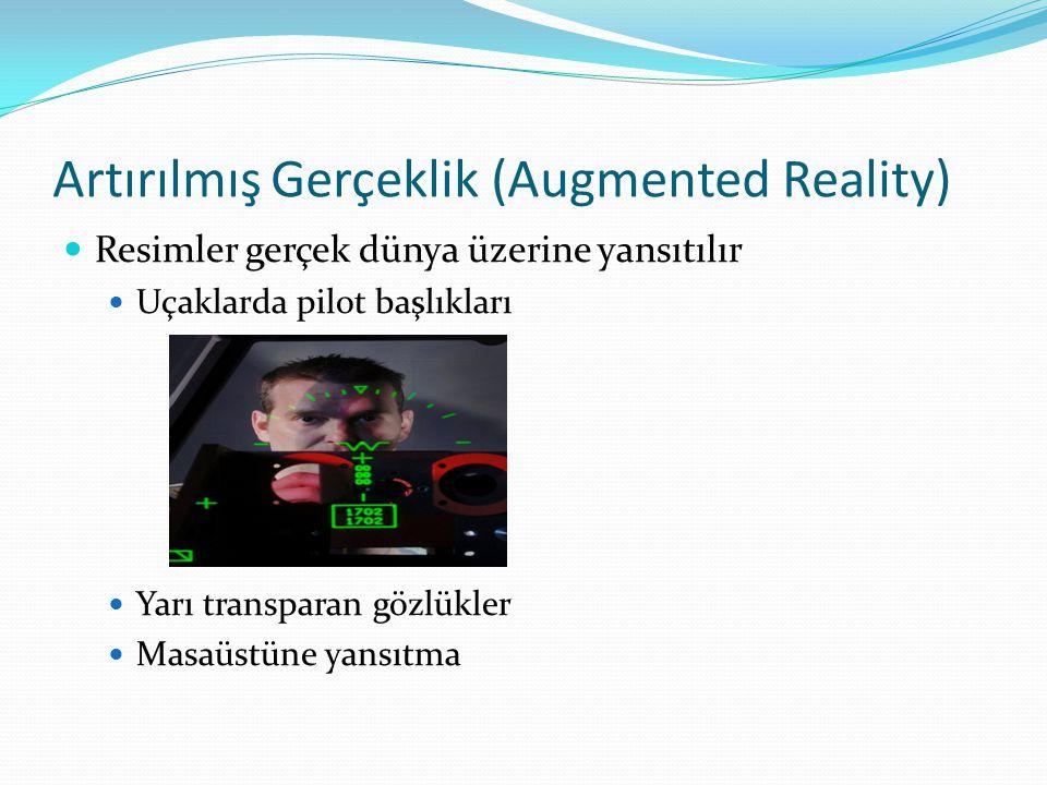 Artırılmış Gerçeklik (Augmented Reality) Resimler gerçek dünya üzerine yansıtılır Uçaklarda pilot başlıkları Yarı transparan gözlükler Masaüstüne yansıtma