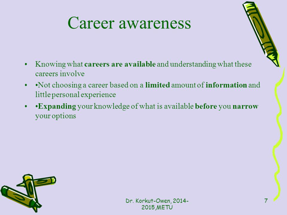 Career awareness Knowing what careers are available and understanding what these careers involve Not choosing a career based on a limited amount of in