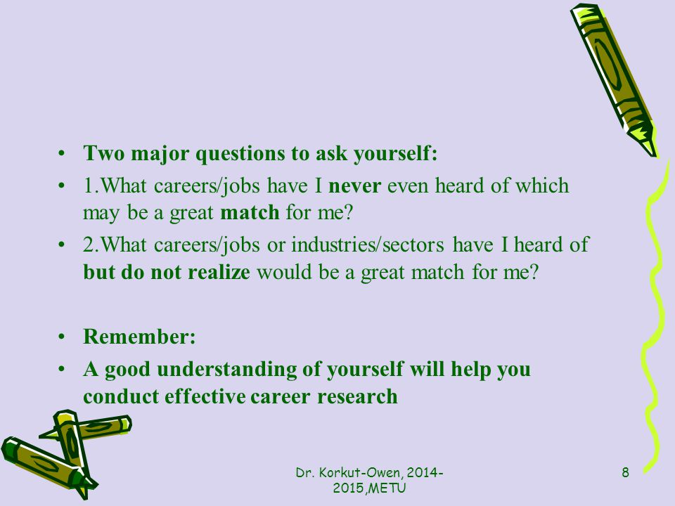 Career Research What things do you want to know about the occupation(s) you are considering.