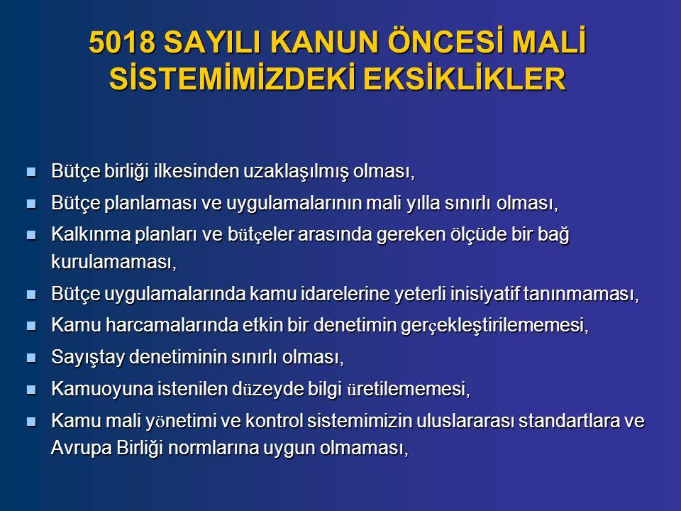 5018 SAYILI KANUN ÖNCESİ MALİ SİSTEMİMİZDEKİ EKSİKLİKLER Bütçe birliği ilkesinden uzaklaşılmış olması, Bütçe birliği ilkesinden uzaklaşılmış olması, B