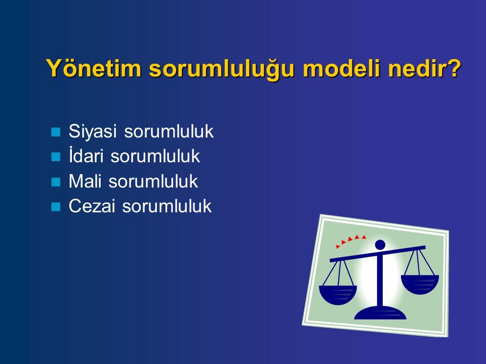 Yönetim sorumluluğu modeli nedir? Siyasi sorumluluk İdari sorumluluk Mali sorumluluk Cezai sorumluluk