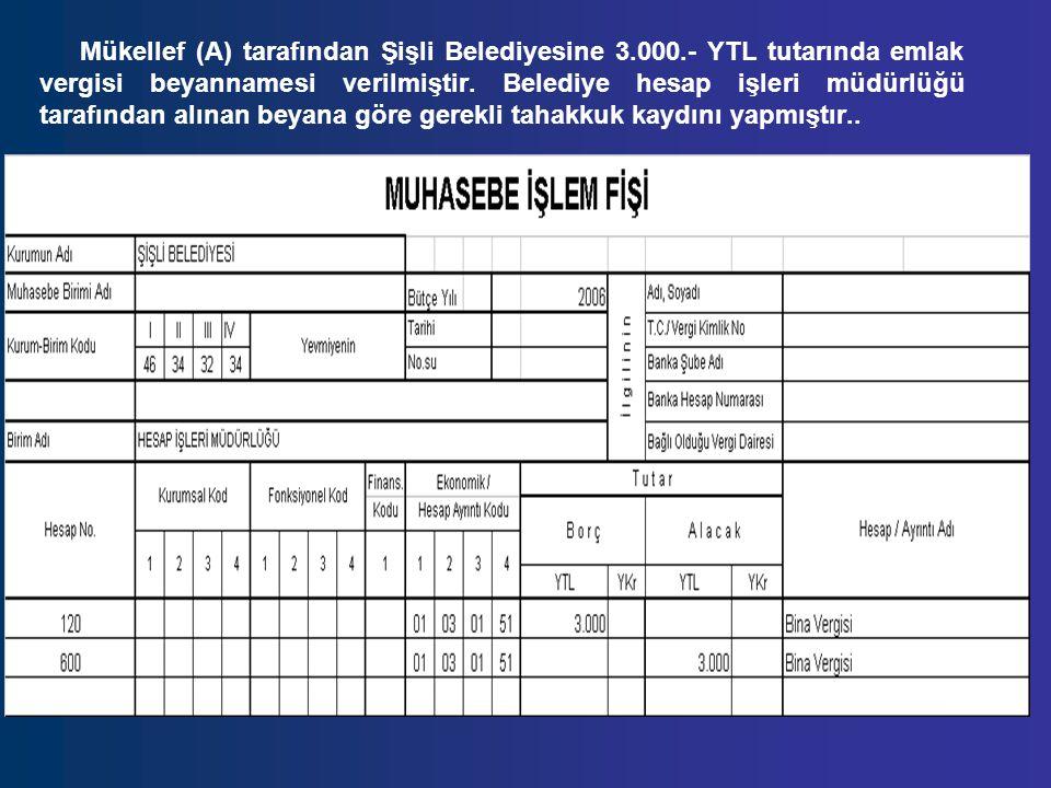 Mükellef (A) tarafından Şişli Belediyesine 3.000.- YTL tutarında emlak vergisi beyannamesi verilmiştir. Belediye hesap işleri müdürlüğü tarafından alı