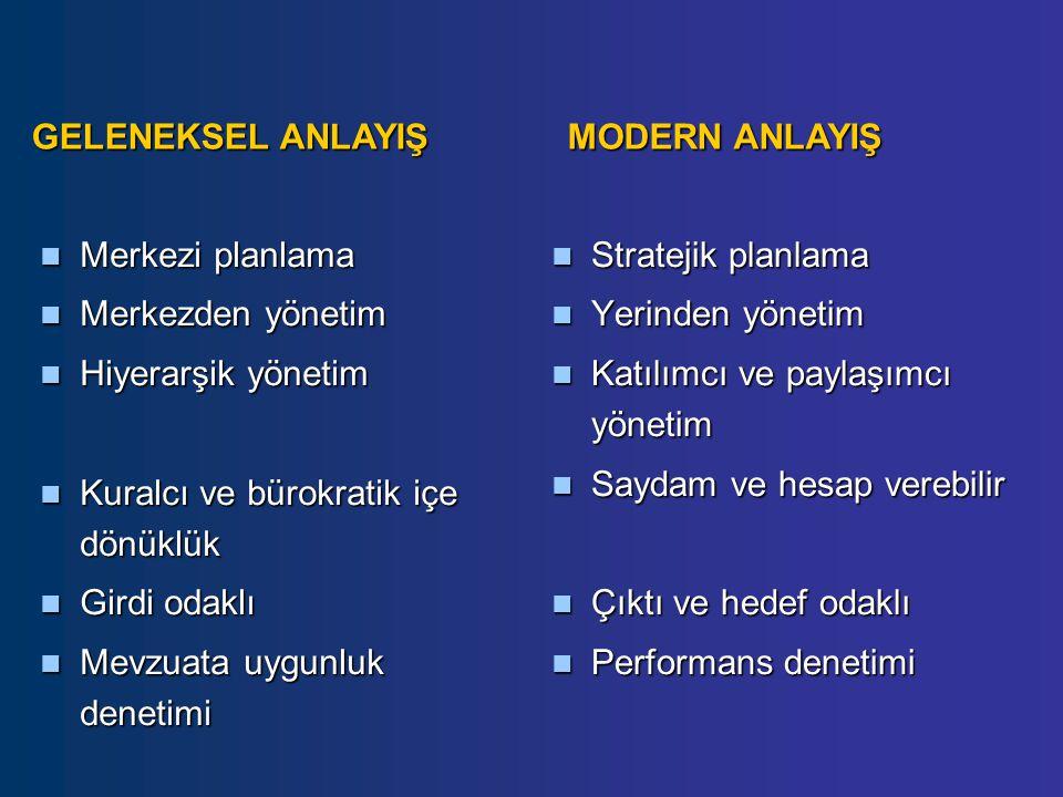 Merkezi planlama Merkezi planlama Merkezden yönetim Merkezden yönetim Hiyerarşik yönetim Hiyerarşik yönetim Kuralcı ve bürokratik içe dönüklük Kuralcı