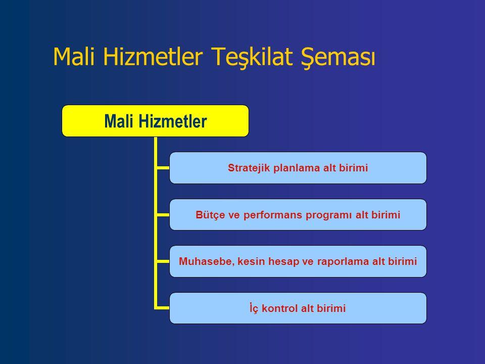 Mali Hizmetler Teşkilat Şeması Mali Hizmetler Stratejik planlama alt birimi Bütçe ve performans programı alt birimi Muhasebe, kesin hesap ve raporlama