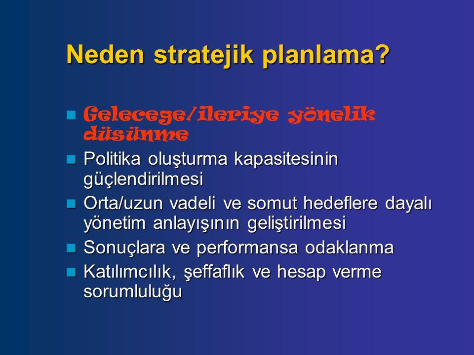 Neden stratejik planlama? Gelecege/ileriye yönelik düsünme Politika oluşturma kapasitesinin güçlendirilmesi Politika oluşturma kapasitesinin güçlendir