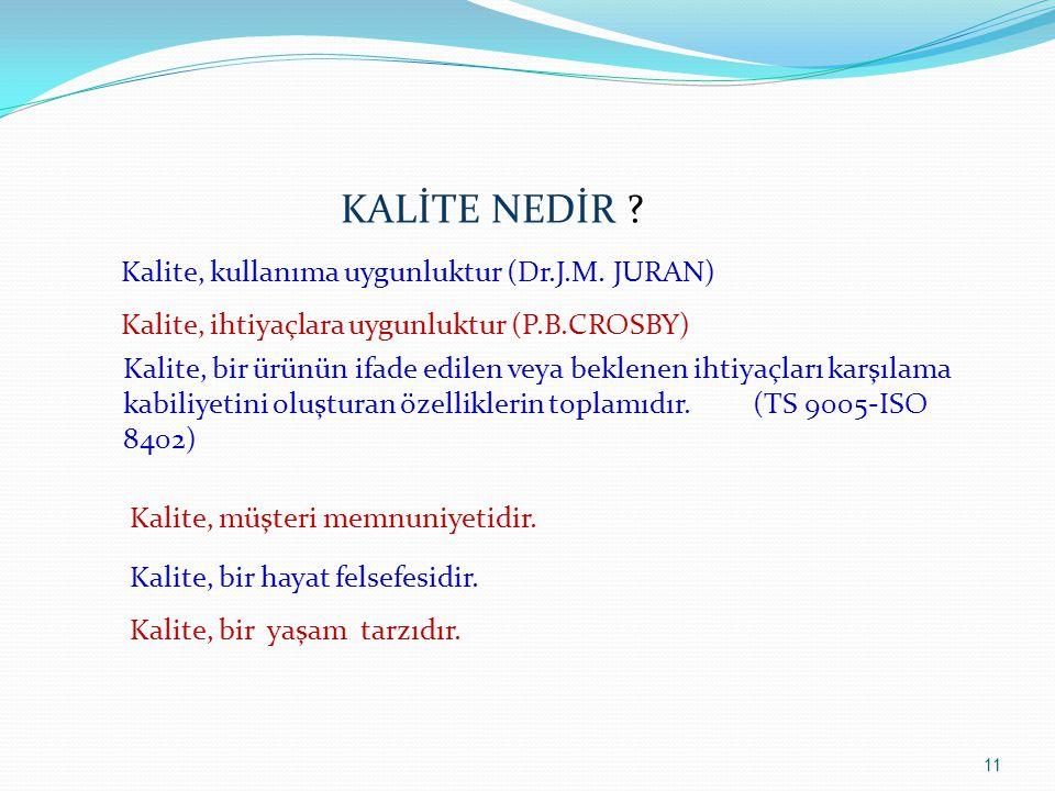 11 KALİTE NEDİR ? Kalite, kullanıma uygunluktur (Dr.J.M. JURAN) Kalite, ihtiyaçlara uygunluktur (P.B.CROSBY) Kalite, bir ürünün ifade edilen veya bekl