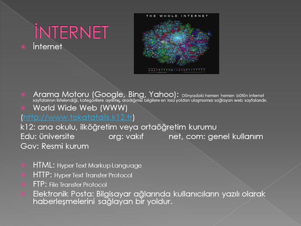  İnternet  Arama Motoru (Google, Bing, Yahoo): Dünyadaki hemen hemen bütün internet sayfalarının listelendiği, kategorilere ayrılmış, aradığımız bil