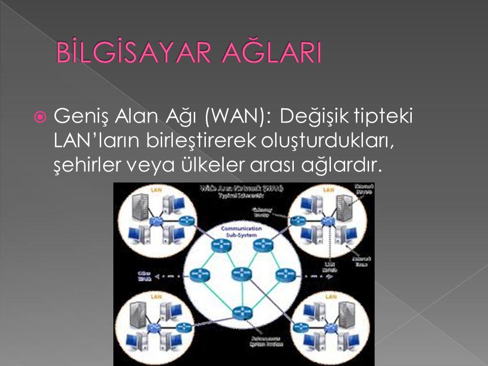  Geniş Alan Ağı (WAN): Değişik tipteki LAN'ların birleştirerek oluşturdukları, şehirler veya ülkeler arası ağlardır.