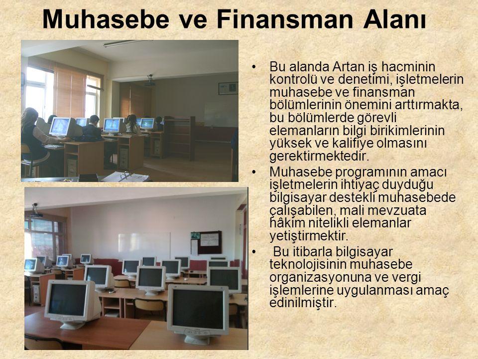 Muhasebe ve Finansman Alanı Bu alanda Artan iş hacminin kontrolü ve denetimi, işletmelerin muhasebe ve finansman bölümlerinin önemini arttırmakta, bu