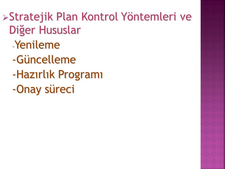  Stratejik Plan Kontrol Yöntemleri ve Diğer Hususlar - Yenileme -Güncelleme -Hazırlık Programı -Onay süreci 125