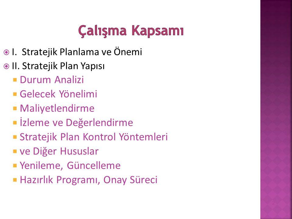  I. Stratejik Planlama ve Önemi  II. Stratejik Plan Yapısı  Durum Analizi  Gelecek Yönelimi  Maliyetlendirme  İzleme ve Değerlendirme  Strateji