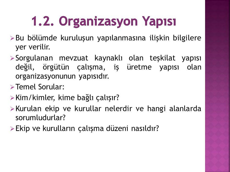  Bu bölümde kuruluşun yapılanmasına ilişkin bilgilere yer verilir.  Sorgulanan mevzuat kaynaklı olan teşkilat yapısı değil, örgütün çalışma, iş üret