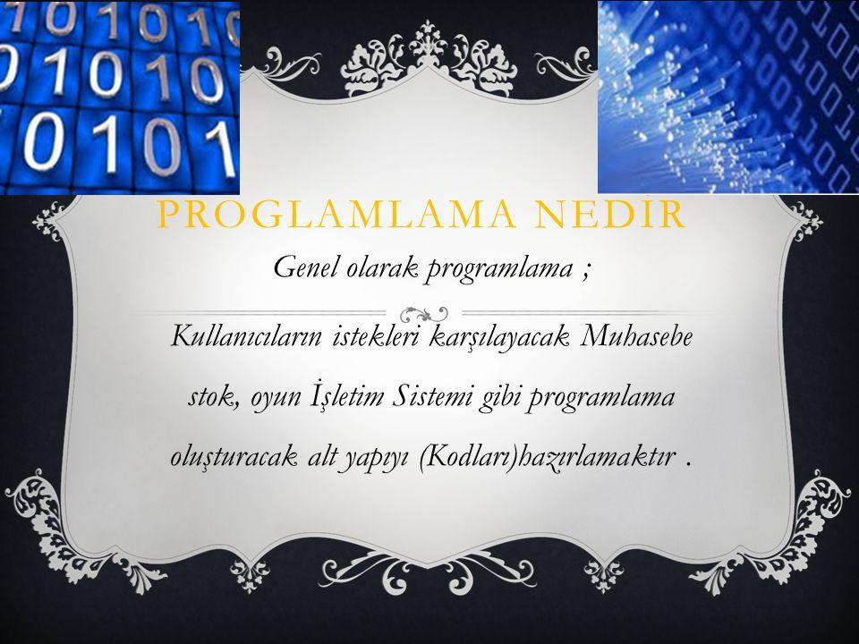 PROGLAMLAMA NEDİR Genel olarak programlama ; Kullanıcıların istekleri karşılayacak Muhasebe stok, oyun İşletim Sistemi gibi programlama oluşturacak alt yapıyı (Kodları)hazırlamaktır.