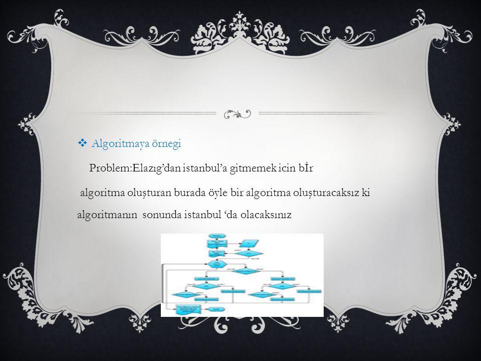  Algoritmaya örnegi Problem:Elazıg'dan istanbul'a gitmemek icin bİr algoritma oluşturan burada öyle bir algoritma oluşturacaksız ki algoritmanın sonunda istanbul 'da olacaksınız