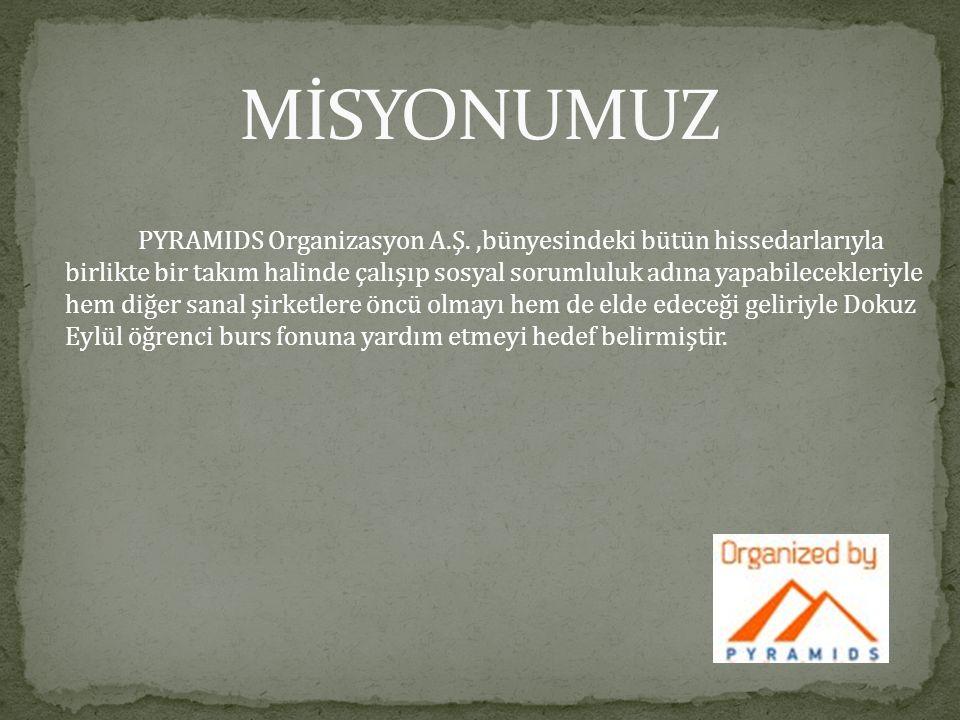 PYRAMIDS Organizasyon A.Ş.,bünyesindeki bütün hissedarlarıyla birlikte bir takım halinde çalışıp sosyal sorumluluk adına yapabilecekleriyle hem diğer