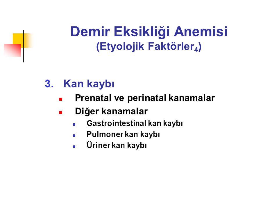 Demir Eksikliği Anemisi (Etyolojik Faktörler 4 ) 3.Kan kaybı Prenatal ve perinatal kanamalar Diğer kanamalar Gastrointestinal kan kaybı Pulmoner kan k