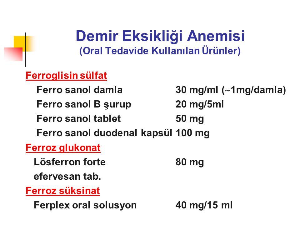 Demir Eksikliği Anemisi (Oral Tedavide Kullanılan Ürünler) Ferroglisin sülfat Ferro sanol damla 30 mg/ml (  1mg/damla) Ferro sanol B şurup20 mg/5ml F