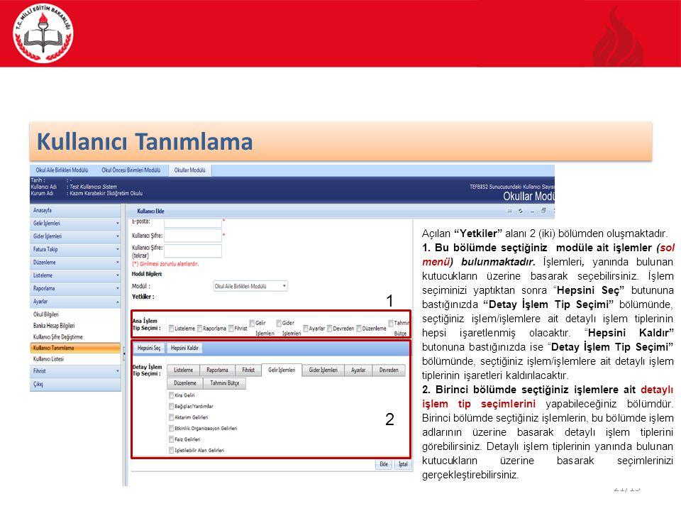 21/15 Kullanıcı Tanımlama Açılan Yetkiler alanı 2 (iki) bölümden oluşmaktadır.