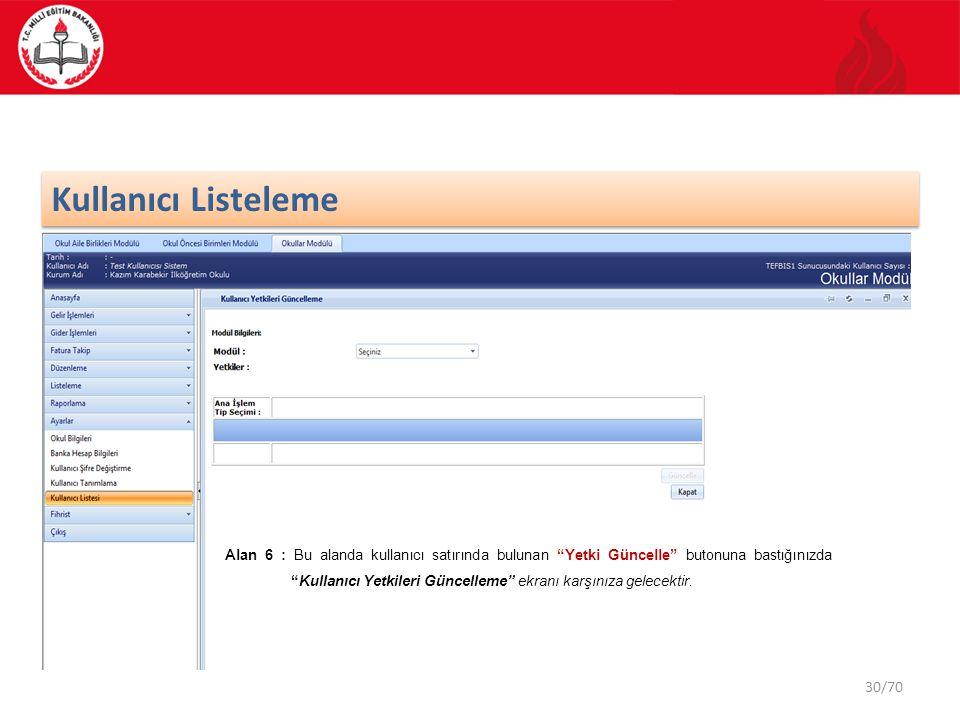 """30/70 Kullanıcı Listeleme Alan 6 : Bu alanda kullanıcı satırında bulunan """"Yetki Güncelle"""" butonuna bastığınızda """"Kullanıcı Yetkileri Güncelleme"""" ekran"""