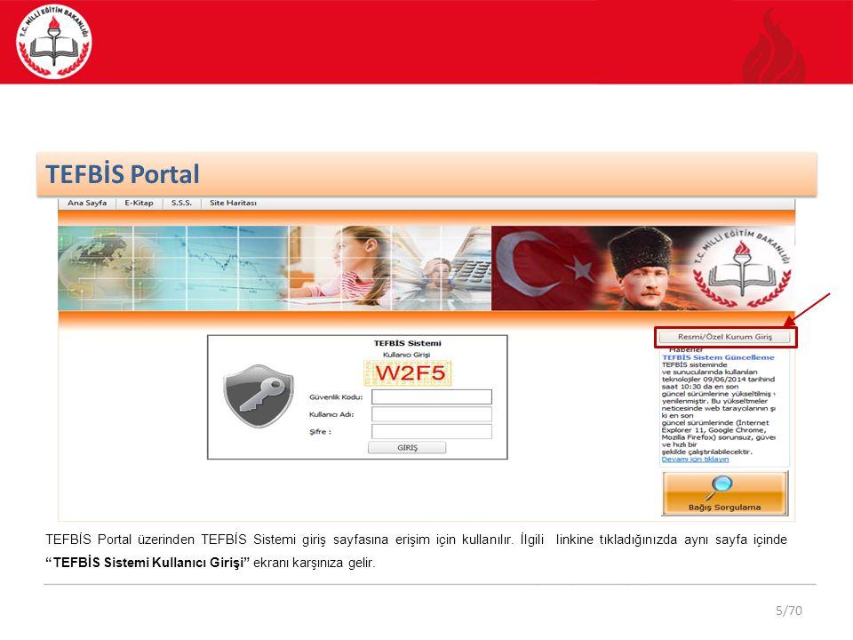 """5/70 TEFBİS Portal TEFBİS Portal üzerinden TEFBİS Sistemi giriş sayfasına erişim için kullanılır. İlgili linkine tıkladığınızda aynı sayfa içinde """"TEF"""