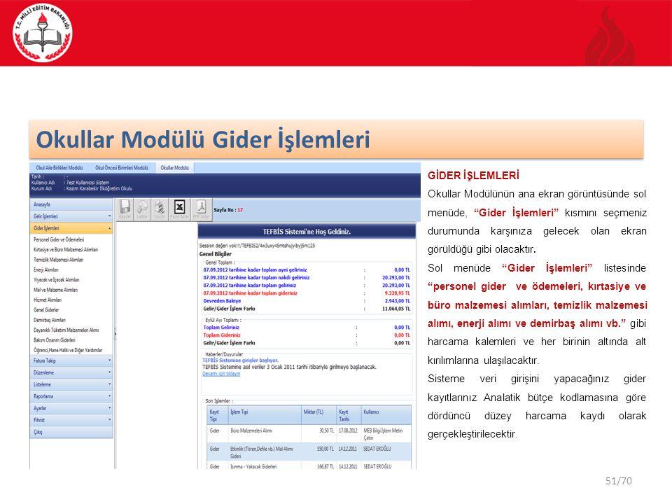 """51/70 Okullar Modülü Gider İşlemleri GİDER İŞLEMLERİ Okullar Modülünün ana ekran görüntüsünde sol menüde, """"Gider İşlemleri"""" kısmını seçmeniz durumunda"""
