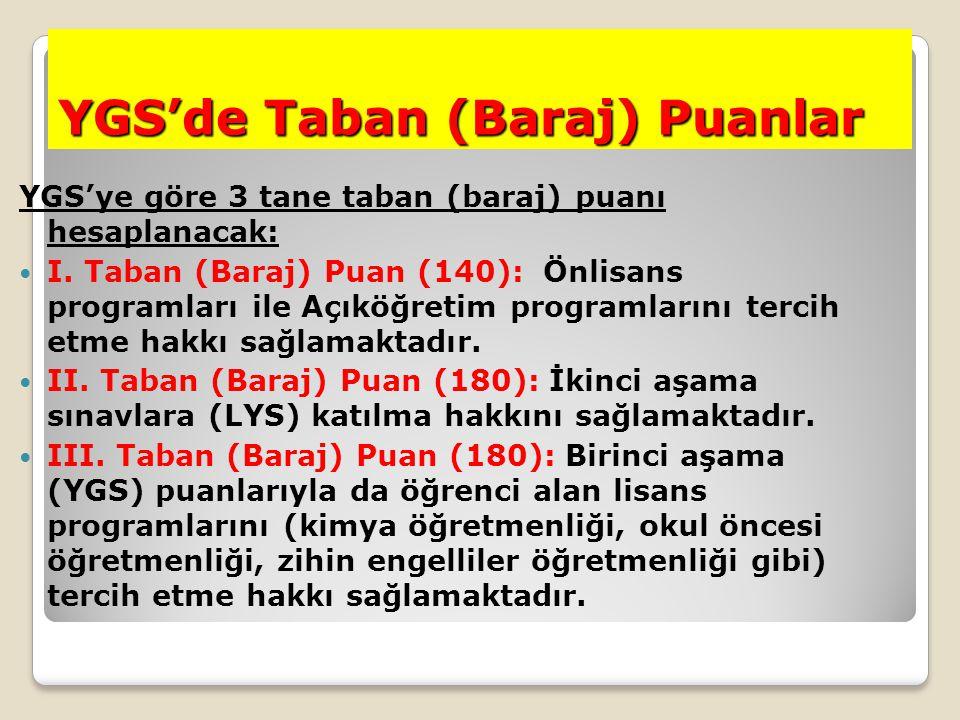 YGS'de Taban (Baraj) Puanlar YGS'ye göre 3 tane taban (baraj) puanı hesaplanacak: I. Taban (Baraj) Puan (140): Önlisans programları ile Açıköğretim pr