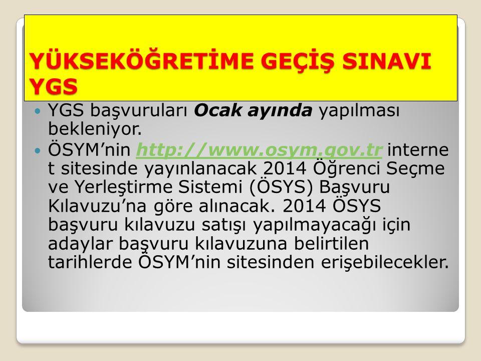 YÜKSEKÖĞRETİME GEÇİŞ SINAVI YGS YGS başvuruları Ocak ayında yapılması bekleniyor. ÖSYM'nin http://www.osym.gov.tr interne t sitesinde yayınlanacak 201