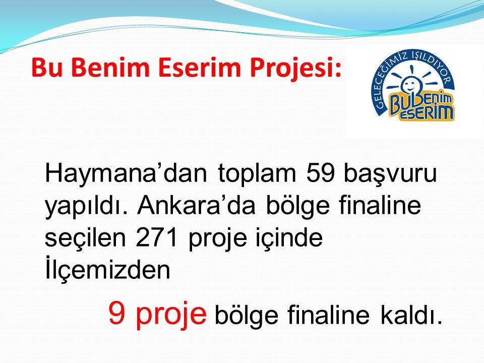 Bu Benim Eserim Projesi: Haymana'dan toplam 59 başvuru yapıldı. Ankara'da bölge finaline seçilen 271 proje içinde İlçemizden 9 proje bölge finaline ka