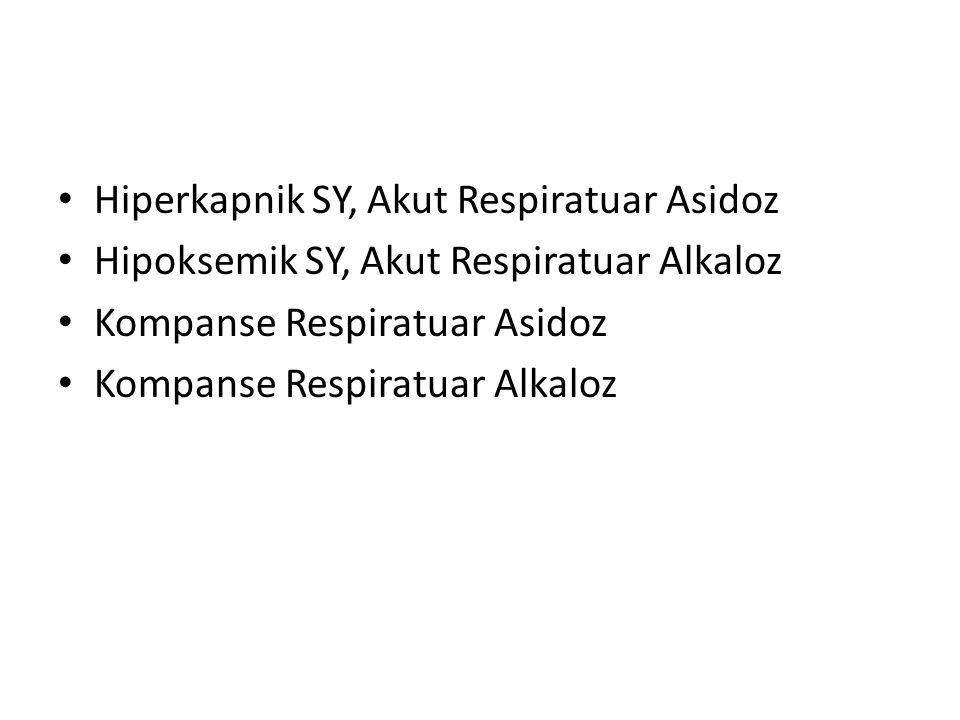 Hiperkapnik SY, Akut Respiratuar Asidoz Hipoksemik SY, Akut Respiratuar Alkaloz Kompanse Respiratuar Asidoz Kompanse Respiratuar Alkaloz