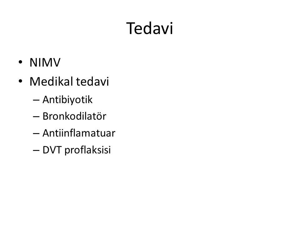 Tedavi NIMV Medikal tedavi – Antibiyotik – Bronkodilatör – Antiinflamatuar – DVT proflaksisi