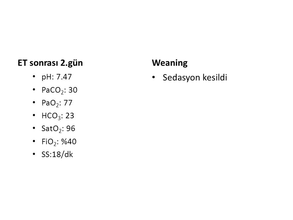 ET sonrası 2.gün pH: 7.47 PaCO 2 : 30 PaO 2 : 77 HCO 3 : 23 SatO 2 : 96 FiO 2 : %40 SS:18/dk Weaning Sedasyon kesildi