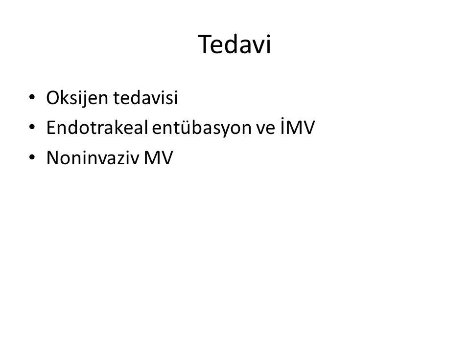 Oksijen tedavisi Endotrakeal entübasyon ve İMV Noninvaziv MV